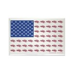 American Flag made up of Snowmobi Rectangle Magnet