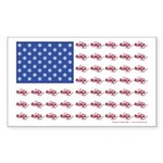 American Flag Made of Snowmobiles Sticker (Rectang