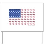 American Flag made up of Snowmobiles Yard Sign