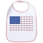 American Flag Made of Snowmobiles Bib