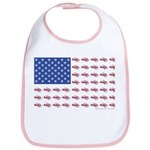 American Flag made up of Snowmobil Cotton Baby Bib