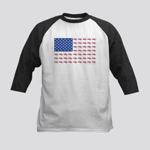 American Flag Made of Snowmobiles Kids Baseball Je