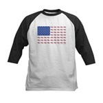 American Flag made up of Snowmob Kids Baseball Tee