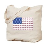American Flag made up of Snowmobiles Tote Bag