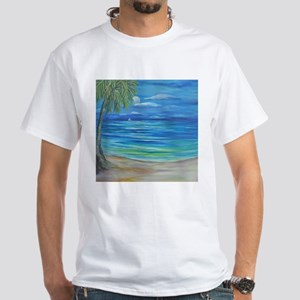 Single Palm with Full Moon White T-Shirt