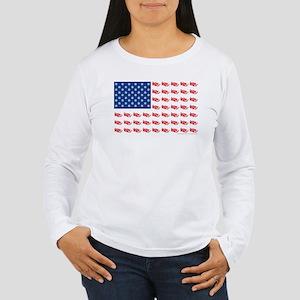 American Flag made of Snowmobiles Women's Long Sle