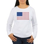American Flag made of Snowmobiles Women's Long Sle