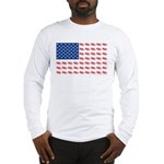 American Flag made of Snowmobiles Long Sleeve T-Sh