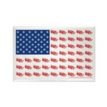 American Flag made of Snowmobiles Rectangle Magnet