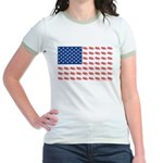 American Flag made of Snowmobiles Jr. Ringer T-Shi