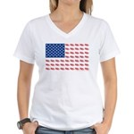 American Flag made of Snowmobiles Women's V-Neck T