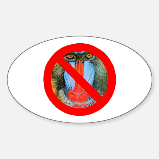 No Baboons Oval Decal