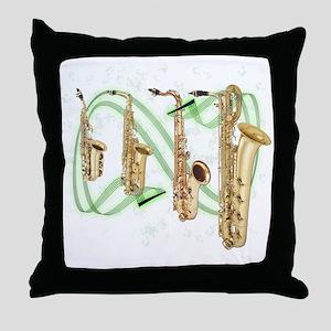 Saxophones Throw Pillow