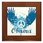Obama Peace Symbol Framed Tile