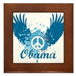 Obama Peace Symbol Framed Tile