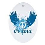 Obama Peace Symbol Oval Ornament