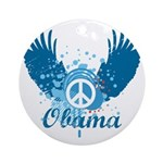 Obama Peace Symbol Ornament (Round)