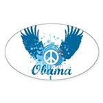 Obama Peace Symbol Oval Sticker