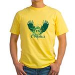 Obama Peace Symbol Yellow T-Shirt