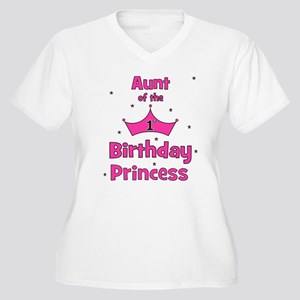 Aunt of the 1st Birthday Prin Women's Plus Size V-