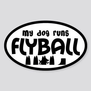 My Dog Runs Flyball Oval Sticker (Black & Whit