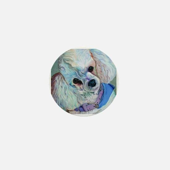 White Poodle Mini Button