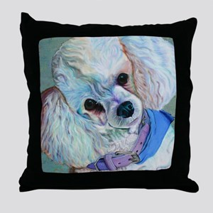 White Poodle Throw Pillow