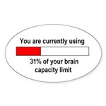 BRAIN CAPACITY LIMIT Oval Sticker (10 pk)
