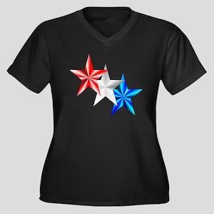 Stars Women's Plus Size V-Neck Dark T-Shirt