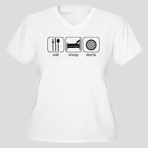 Eat Sleep Darts Women's Plus Size V-Neck T-Shirt