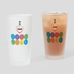 I Love Disc Golf Drinking Glass