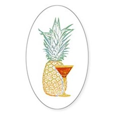 Pineapple Cocktail Oval Sticker