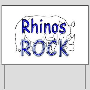 Rhinos Rock Yard Sign