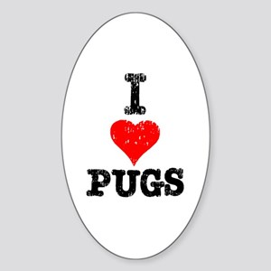 I Heart Pugs Oval Sticker