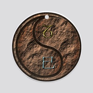 Capricorn & Earth Snake Round Ornament