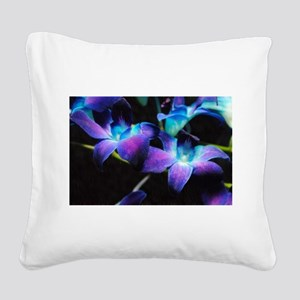 Two Purple Orchids Square Canvas Pillow