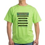 Top Ten Lies Snowmobilers use Green T-Shirt