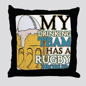 Rugby Drinking Team Throw Pillow
