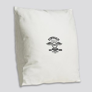 Vintage Perfectly Aged 1963 Burlap Throw Pillow
