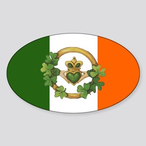 Irish Flag & Claddagh Oval Sticker