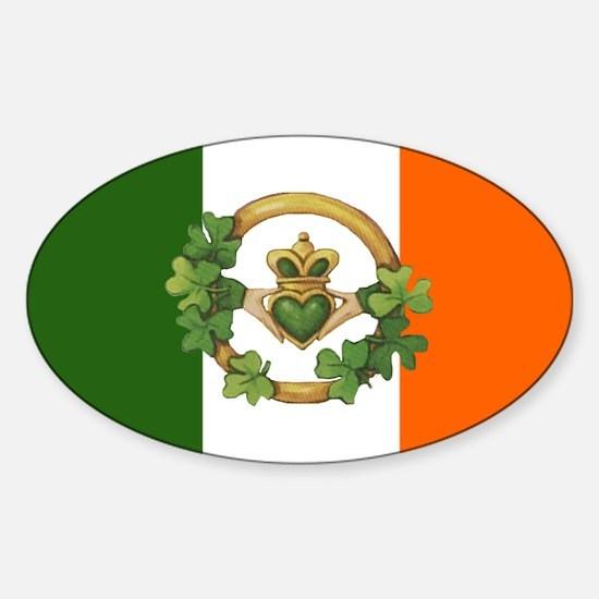 Irish Flag & Claddagh Oval Bumper Stickers