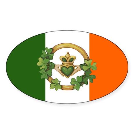 Irish Flag & Claddagh Oval Sticker