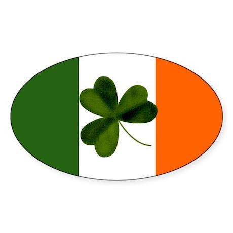 Irish Flag & Shamrock Oval Sticker