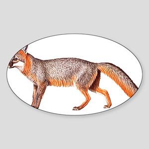 Gray Fox Animal Lover Oval Sticker