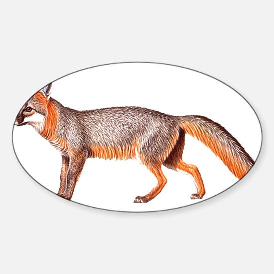 Gray Fox Animal Lover Oval Decal