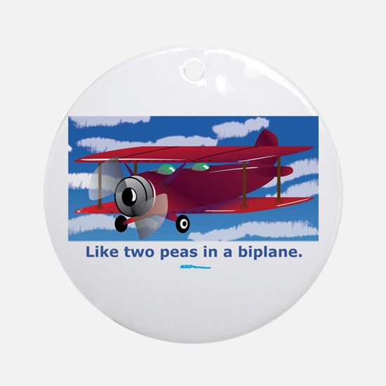 in a Biplane Ornament (Round)