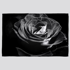 Dark Black and White Rose 4' x 6' Rug