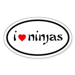 I Heart Ninjas Oval Sticker