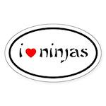 I Heart Ninjas Oval Sticker (50 pk)