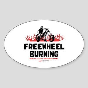 Freewheel Burning Biker Oval Sticker
